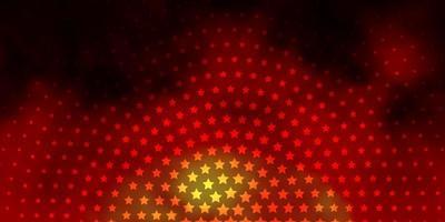 dunkeloranger Vektorhintergrund mit bunten Sternen.