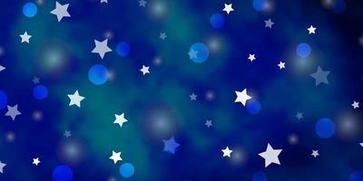 hellblaues Vektorlayout mit Kreisen, Sternen.