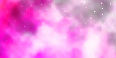 hellrosa, gelber Vektorhintergrund mit kleinen und großen Sternen. vektor