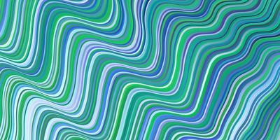 hellblauer, grüner Vektorhintergrund mit gekrümmten Linien.