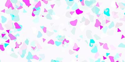 ljusrosa, blått vektormönster med abstrakta former.