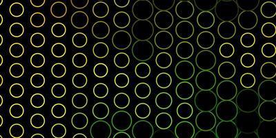 dunkelgrünes, gelbes Vektormuster mit Kreisen.