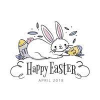 Nettes Kaninchen mit Eiern und Blättern zu Ostern-Tag vektor