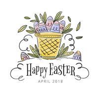 Söt korg med ägg inuti på påskdagen vektor