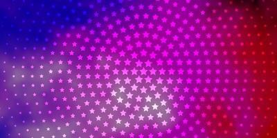 hellrosa, blauer Vektorhintergrund mit kleinen und großen Sternen. vektor