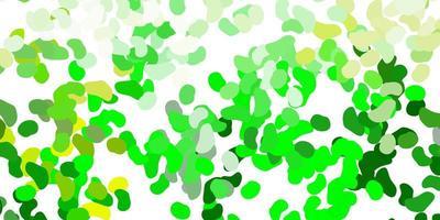 hellgrünes, gelbes Vektormuster mit abstrakten Formen.