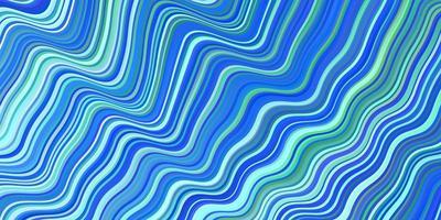 hellblaues, grünes Vektormuster mit gebogenen Linien.