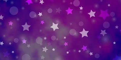 hellvioletter Vektorhintergrund mit Kreisen, Sternen.
