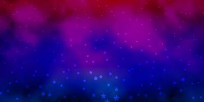 dunkler mehrfarbiger Vektorhintergrund mit kleinen und großen Sternen.