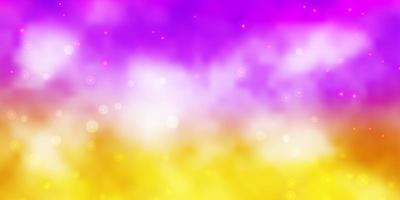 ljusrosa, gula vektormall med neonstjärnor. vektor