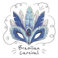 Gullig brasiliansk karnevalsmaske vektor