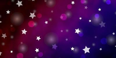 dunkelblaue, rote Vektorschablone mit Kreisen, Sternen.