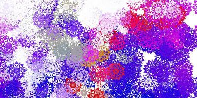 hellblaues, rotes Vektormuster mit farbigen Schneeflocken.