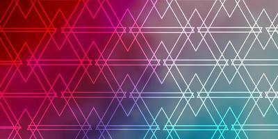 hellblaues, rotes Vektormuster mit Linien, Dreiecken.