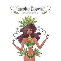 Sexy und exotische brasilianische Tänzerin lächelnd vektor