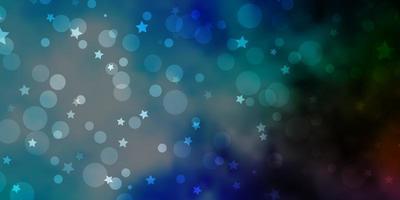 ljusblå, grön vektorbakgrund med cirklar, stjärnor.
