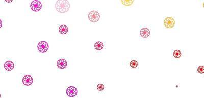 ljusrosa, gul vektorbakgrund med bubblor