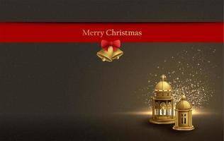 julkort design bakgrund med gyllene kyrkliga lyktor vektor