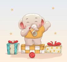 niedlicher Elefant, der Weihnachten und neues Jahr feiert