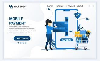 vektorillustration av mobilbetalning eller pengaröverföringskoncept med en kvinna som gör betalningstransaktion. modern platt webbmallsidesmalldesign för webbplats och mobilwebbplats. platt tecknad stil