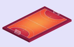 isometrisk fält för handboll. orange kontur av linjer handboll fältet vektorillustration. vektor