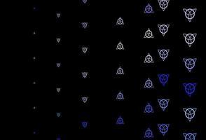 dunkelvioletter Vektorhintergrund mit Mysteriumsymbolen.