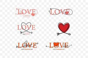 Satz von glücklichen Valentinstag-Beschriftungssatz vektor