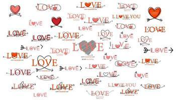 Satz glücklicher Valentinstagbeschriftung vektor