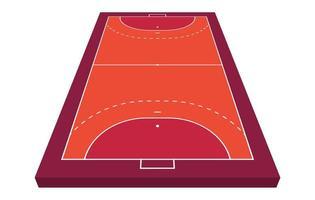 perspektivisches Sichtfeld für Handball. orange Umriss der Linien Handball Feld Vektor-Illustration. vektor
