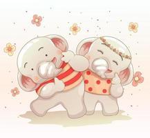 Das Elefantenpaar hat Spaß zusammen vektor
