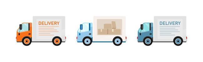 leverans lastbilar platta föremål set vektor