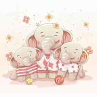 söt glad elefant familj vektor