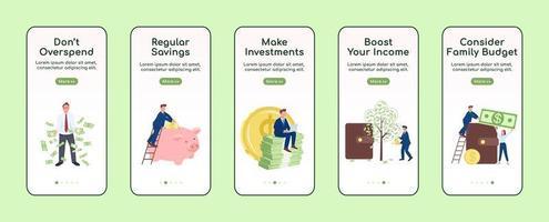reich werden mobile App-Bildschirm vektor