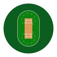 Cricketfeld. einfaches Symbol und Hintergrund. Vektorillustration lokalisiert auf einem weißen Hintergrund. vektor
