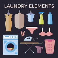 Flache Waschmaschine und Wäscherei-Vektor