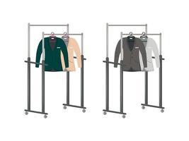 Anzüge auf Kleiderbügeln flaches Objekt gesetzt vektor