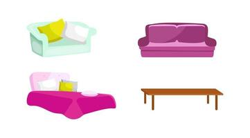 sovrum och vardagsrumsmöbler vektor