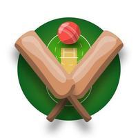 cricket vektor logotyp med cross bat, boll och fält. modern professionell sport retro stil vektor emblem och mall logotype design.