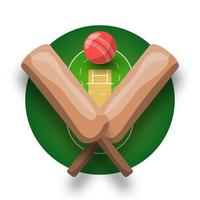 Cricket-Vektor-Logo mit Kreuzschläger, Ball und Feld. Retro-Stilvektoremblem des modernen Profisports und Schablonenlogotypentwurf. vektor