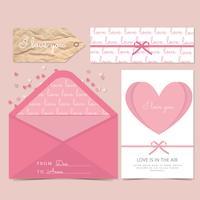 Vektor-Valentinstag-Briefpapier vektor