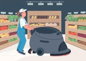 Reiniger im flachen Vektor des Lebensmittelgeschäfts