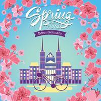 Kirschblüte in der alten Stadt von Bonn am hellen Tag des Frühlinges