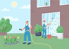 vaktmästare team städning hus vektor