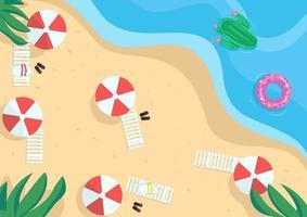 stranden platt färg vektorillustration vektor