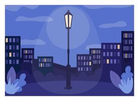 midnatt stad platt färg vektorillustration vektor