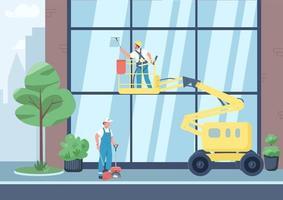 flache Farbvektorillustration der städtischen Reinigung vektor