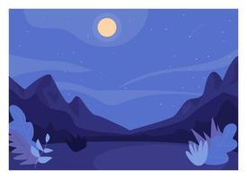 nattlig skog rensa platt färg vektorillustration