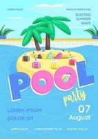 pool party affisch platt vektor mall