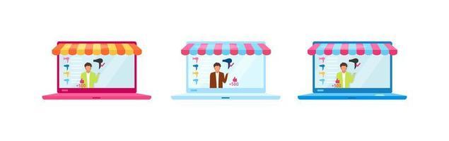 Kundenbewertungen flache Objekte gesetzt vektor