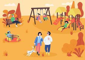 höst playpark med besökare platt färg vektorillustration vektor